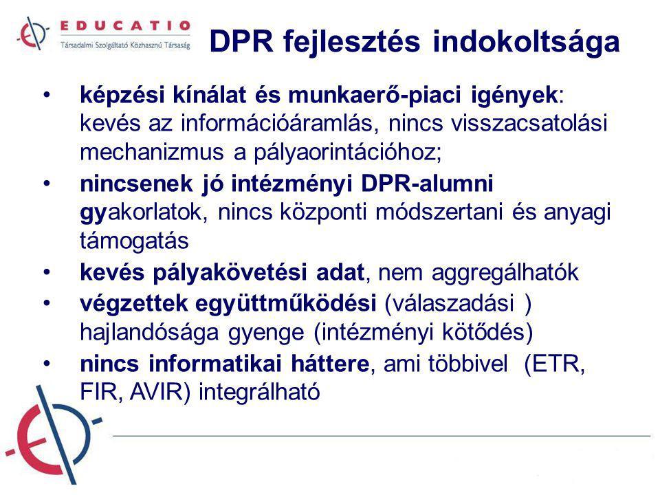 DPR fejlesztés indokoltsága képzési kínálat és munkaerő-piaci igények: kevés az információáramlás, nincs visszacsatolási mechanizmus a pályaorintációh