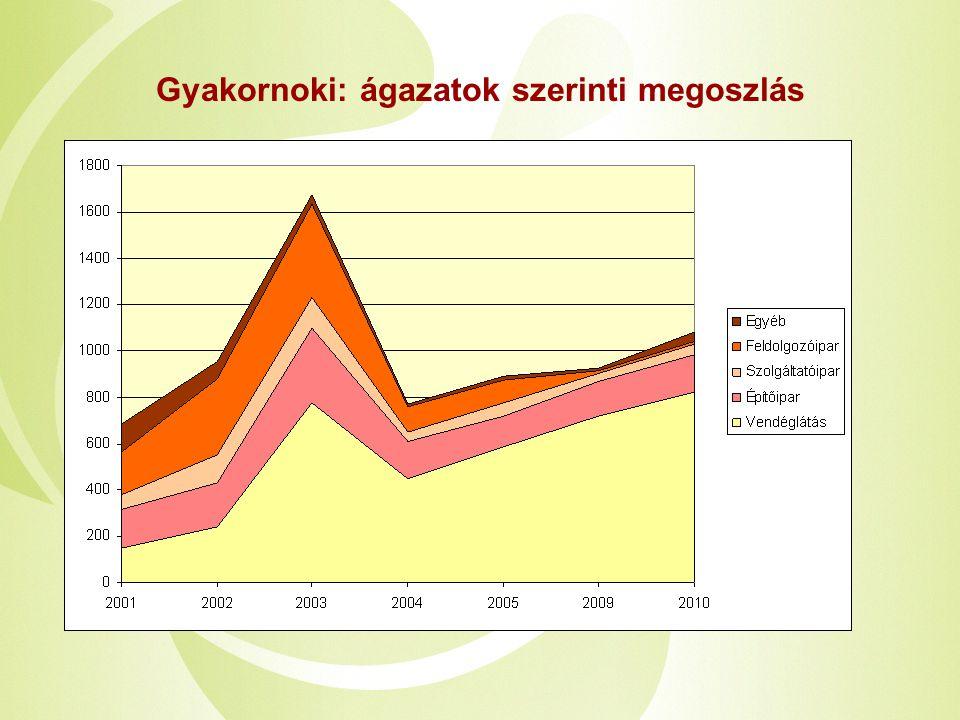 Gyakornoki: ágazatok szerinti megoszlás