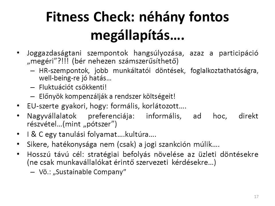 """Fitness Check: néhány fontos megállapítás…. Joggazdaságtani szempontok hangsúlyozása, azaz a participáció """"megéri""""?!!! (bér nehezen számszerűsíthető)"""