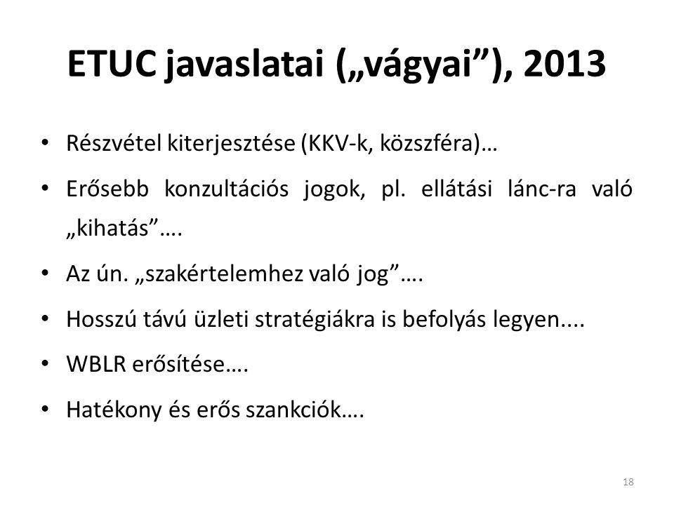 """ETUC javaslatai (""""vágyai""""), 2013 Részvétel kiterjesztése (KKV-k, közszféra)… Erősebb konzultációs jogok, pl. ellátási lánc-ra való """"kihatás""""…. Az ún."""