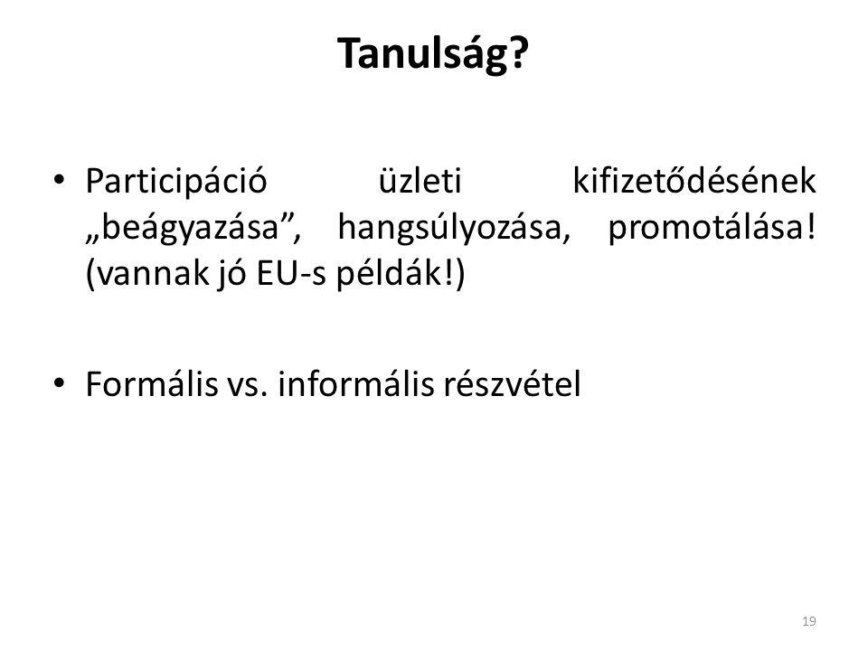 """Tanulság? Participáció üzleti kifizetődésének """"beágyazása"""", hangsúlyozása, promotálása! (vannak jó EU-s példák!) Formális vs. informális részvétel 19"""
