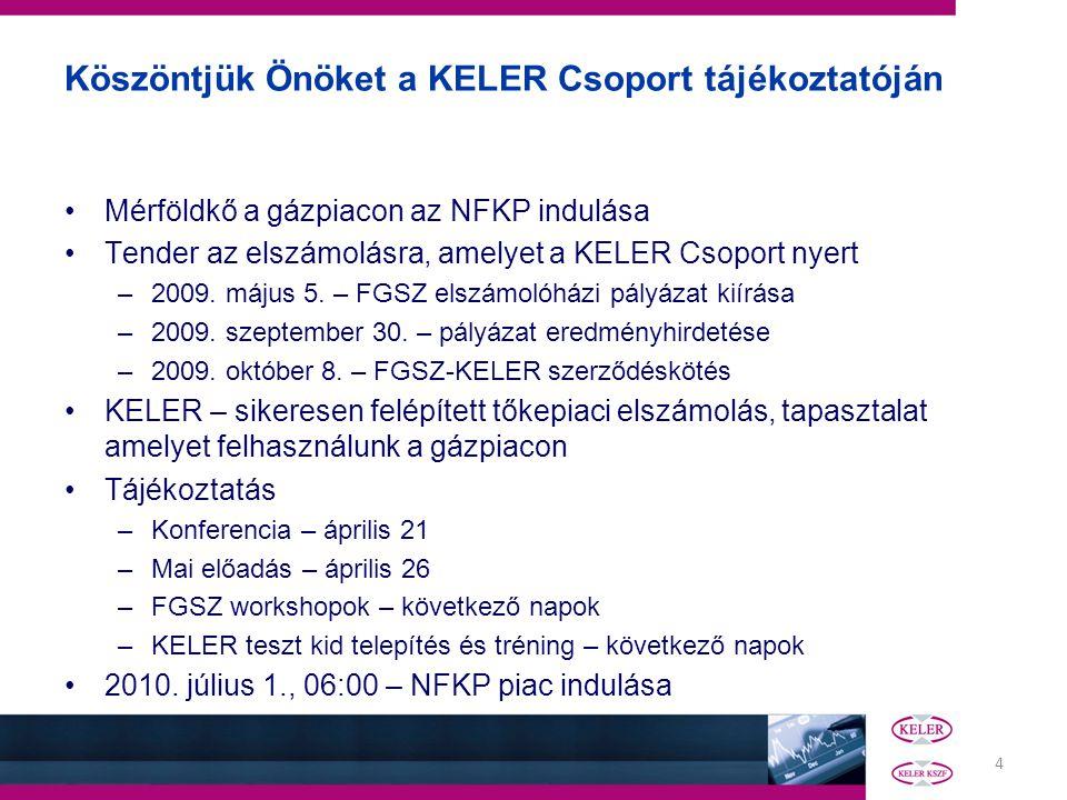 4 Köszöntjük Önöket a KELER Csoport tájékoztatóján Mérföldkő a gázpiacon az NFKP indulása Tender az elszámolásra, amelyet a KELER Csoport nyert –2009.