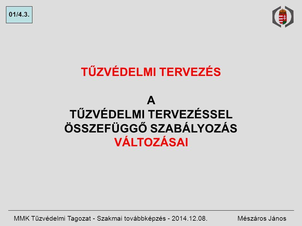 ELŐADÁS-VÁZLAT 1.Visszatekintés 2.Hatályos szabályozás 3.Tervek MMK Tűzvédelmi Tagozat - Szakmai továbbképzés - 2014.12.08.