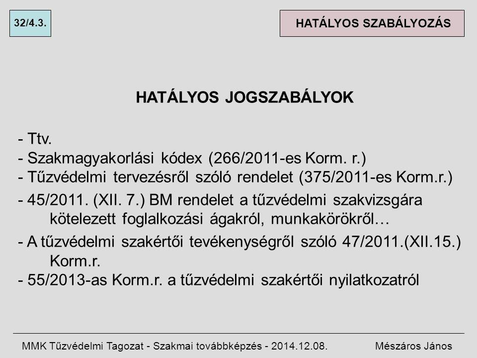 HATÁLYOS JOGSZABÁLYOK - Ttv.- Szakmagyakorlási kódex (266/2011-es Korm.