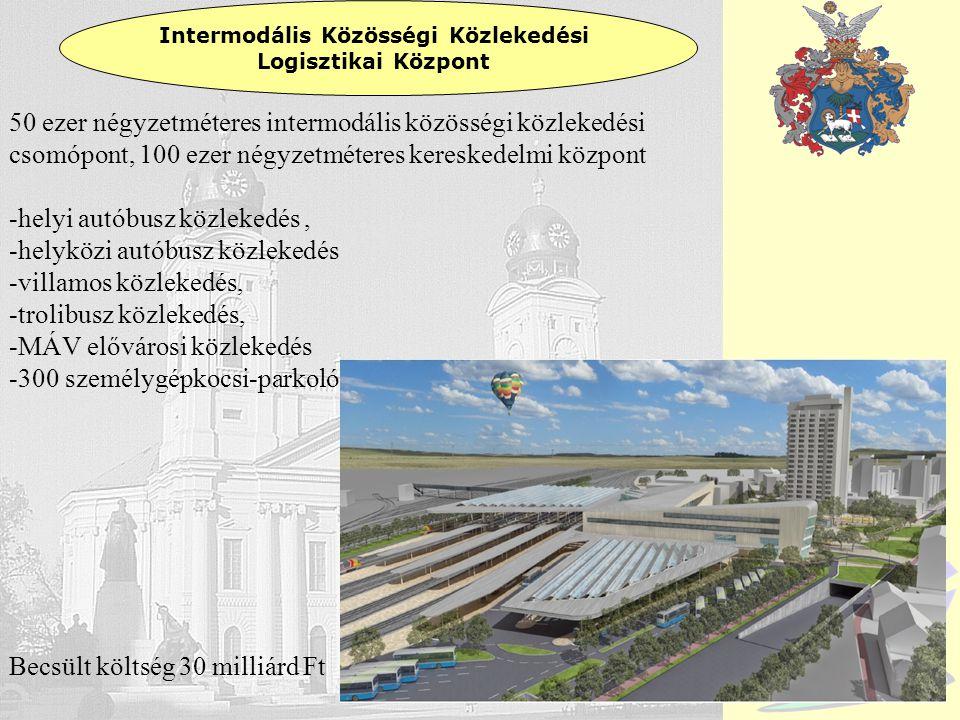 Debrecen Intermodális Közösségi Közlekedési Logisztikai Központ 50 ezer négyzetméteres intermodális közösségi közlekedési csomópont, 100 ezer négyzetm