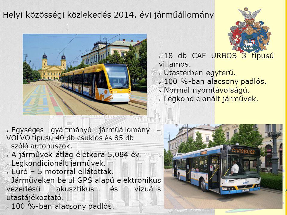 Debrecen Helyi közösségi közlekedés 2014. évi járműállomány  Egységes gyártmányú járműállomány – VOLVO típusú 40 db csuklós és 85 db szóló autóbuszok
