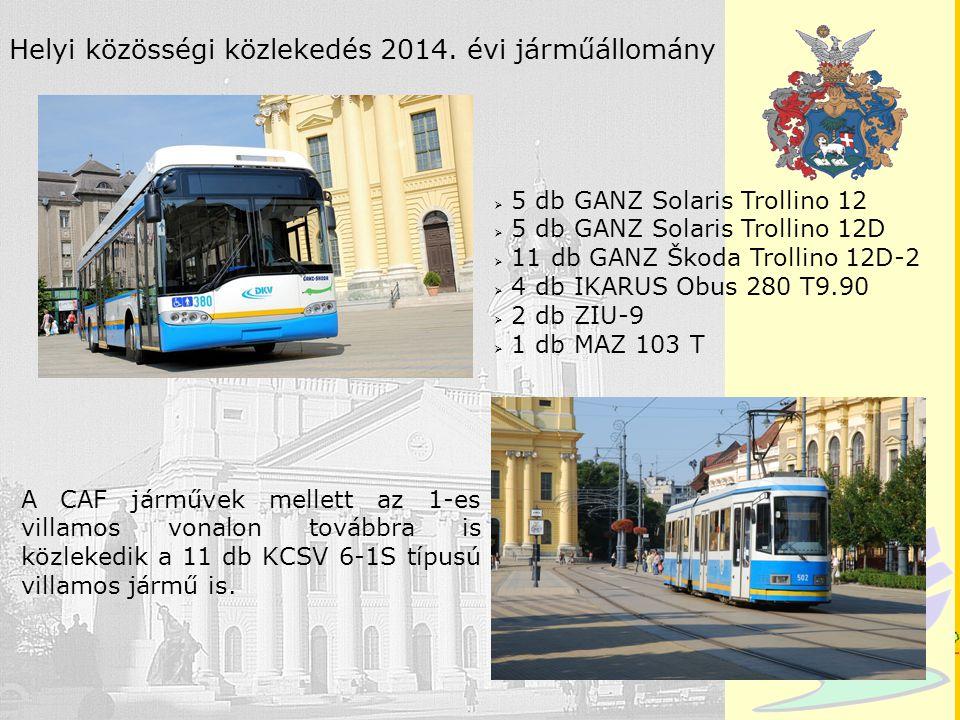 Debrecen Helyi közösségi közlekedés 2014. évi járműállomány  5 db GANZ Solaris Trollino 12  5 db GANZ Solaris Trollino 12D  11 db GANZ Škoda Trolli