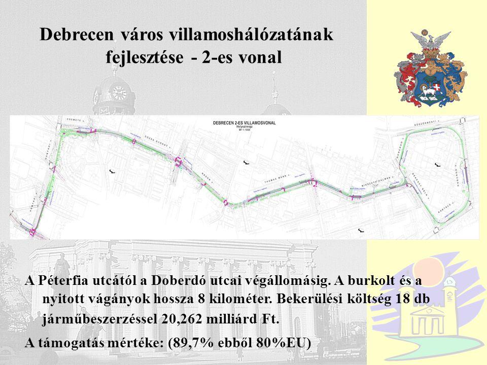 Debrecen A Péterfia utcától a Doberdó utcai végállomásig. A burkolt és a nyitott vágányok hossza 8 kilométer. Bekerülési költség 18 db járműbeszerzéss