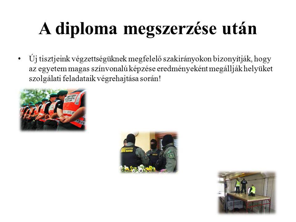A diploma megszerzése után Új tisztjeink végzettségüknek megfelelő szakirányokon bizonyítják, hogy az egyetem magas színvonalú képzése eredményeként m