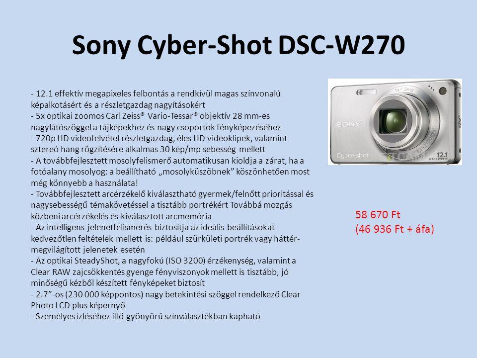 """Sony Cyber-Shot DSC-W270 - 12.1 effektív megapixeles felbontás a rendkívül magas színvonalú képalkotásért és a részletgazdag nagyításokért - 5x optikai zoomos Carl Zeiss® Vario-Tessar® objektív 28 mm-es nagylátószöggel a tájképekhez és nagy csoportok fényképezéséhez - 720p HD videofelvétel részletgazdag, éles HD videoklipek, valamint sztereó hang rögzítésére alkalmas 30 kép/mp sebesség mellett - A továbbfejlesztett mosolyfelismerő automatikusan kioldja a zárat, ha a fotóalany mosolyog: a beállítható """"mosolyküszöbnek köszönhetően most még könnyebb a használata."""
