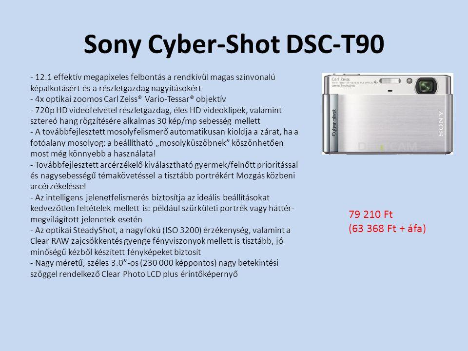 """Sony Cyber-Shot DSC-T90 - 12.1 effektív megapixeles felbontás a rendkívül magas színvonalú képalkotásért és a részletgazdag nagyításokért - 4x optikai zoomos Carl Zeiss® Vario-Tessar® objektív - 720p HD videofelvétel részletgazdag, éles HD videoklipek, valamint sztereó hang rögzítésére alkalmas 30 kép/mp sebesség mellett - A továbbfejlesztett mosolyfelismerő automatikusan kioldja a zárat, ha a fotóalany mosolyog: a beállítható """"mosolyküszöbnek köszönhetően most még könnyebb a használata."""