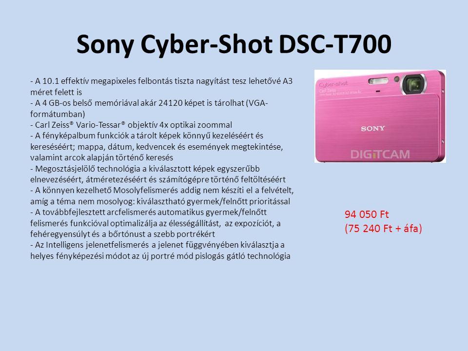 Sony Cyber-Shot DSC-T700 - A 10.1 effektív megapixeles felbontás tiszta nagyítást tesz lehetővé A3 méret felett is - A 4 GB-os belső memóriával akár 24120 képet is tárolhat (VGA- formátumban) - Carl Zeiss® Vario-Tessar® objektív 4x optikai zoommal - A fényképalbum funkciók a tárolt képek könnyű kezeléséért és kereséséért; mappa, dátum, kedvencek és események megtekintése, valamint arcok alapján történő keresés - Megosztásjelölő technológia a kiválasztott képek egyszerűbb elnevezéséért, átméretezéséért és számítógépre történő feltöltéséért - A könnyen kezelhető Mosolyfelismerés addig nem készíti el a felvételt, amíg a téma nem mosolyog: kiválasztható gyermek/felnőtt prioritással - A továbbfejlesztett arcfelismerés automatikus gyermek/felnőtt felismerés funkcióval optimalizálja az élességállítást, az expozíciót, a fehéregyensúlyt és a bőrtónust a szebb portrékért - Az Intelligens jelenetfelismerés a jelenet függvényében kiválasztja a helyes fényképezési módot az új portré mód pislogás gátló technológia 94 050 Ft (75 240 Ft + áfa)