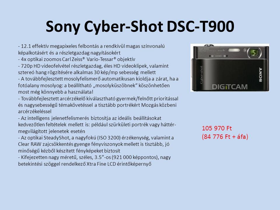 """Sony Cyber-Shot DSC-T900 - 12.1 effektív megapixeles felbontás a rendkívül magas színvonalú képalkotásért és a részletgazdag nagyításokért - 4x optikai zoomos Carl Zeiss® Vario-Tessar® objektív - 720p HD videofelvétel részletgazdag, éles HD videoklipek, valamint sztereó hang rögzítésére alkalmas 30 kép/mp sebesség mellett - A továbbfejlesztett mosolyfelismerő automatikusan kioldja a zárat, ha a fotóalany mosolyog: a beállítható """"mosolyküszöbnek köszönhetően most még könnyebb a használata."""
