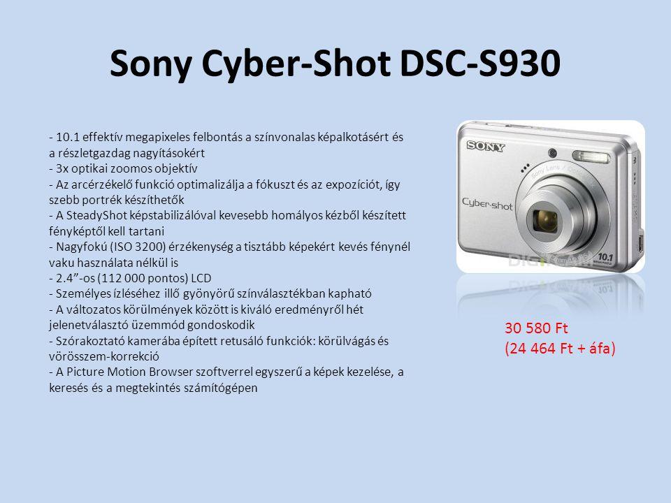 Sony Cyber-Shot DSC-S930 - 10.1 effektív megapixeles felbontás a színvonalas képalkotásért és a részletgazdag nagyításokért - 3x optikai zoomos objektív - Az arcérzékelő funkció optimalizálja a fókuszt és az expozíciót, így szebb portrék készíthetők - A SteadyShot képstabilizálóval kevesebb homályos kézből készített fényképtől kell tartani - Nagyfokú (ISO 3200) érzékenység a tisztább képekért kevés fénynél vaku használata nélkül is - 2.4 -os (112 000 pontos) LCD - Személyes ízléséhez illő gyönyörű színválasztékban kapható - A változatos körülmények között is kiváló eredményről hét jelenetválasztó üzemmód gondoskodik - Szórakoztató kamerába épített retusáló funkciók: körülvágás és vörösszem-korrekció - A Picture Motion Browser szoftverrel egyszerű a képek kezelése, a keresés és a megtekintés számítógépen 30 580 Ft (24 464 Ft + áfa)