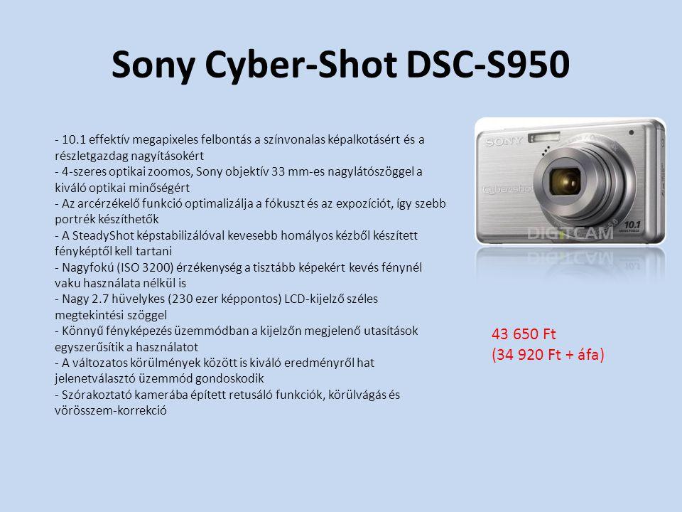 Sony Cyber-Shot DSC-S950 - 10.1 effektív megapixeles felbontás a színvonalas képalkotásért és a részletgazdag nagyításokért - 4-szeres optikai zoomos, Sony objektív 33 mm-es nagylátószöggel a kiváló optikai minőségért - Az arcérzékelő funkció optimalizálja a fókuszt és az expozíciót, így szebb portrék készíthetők - A SteadyShot képstabilizálóval kevesebb homályos kézből készített fényképtől kell tartani - Nagyfokú (ISO 3200) érzékenység a tisztább képekért kevés fénynél vaku használata nélkül is - Nagy 2.7 hüvelykes (230 ezer képpontos) LCD-kijelző széles megtekintési szöggel - Könnyű fényképezés üzemmódban a kijelzőn megjelenő utasítások egyszerűsítik a használatot - A változatos körülmények között is kiváló eredményről hat jelenetválasztó üzemmód gondoskodik - Szórakoztató kamerába épített retusáló funkciók, körülvágás és vörösszem-korrekció 43 650 Ft (34 920 Ft + áfa)