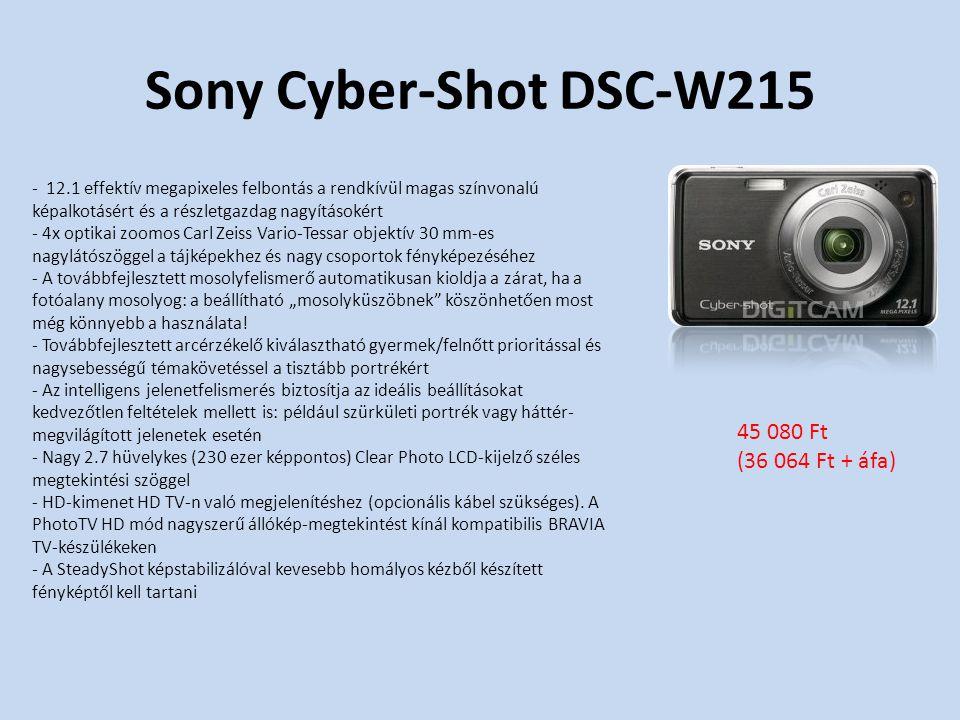 """Sony Cyber-Shot DSC-W215 - 12.1 effektív megapixeles felbontás a rendkívül magas színvonalú képalkotásért és a részletgazdag nagyításokért - 4x optikai zoomos Carl Zeiss Vario-Tessar objektív 30 mm-es nagylátószöggel a tájképekhez és nagy csoportok fényképezéséhez - A továbbfejlesztett mosolyfelismerő automatikusan kioldja a zárat, ha a fotóalany mosolyog: a beállítható """"mosolyküszöbnek köszönhetően most még könnyebb a használata."""