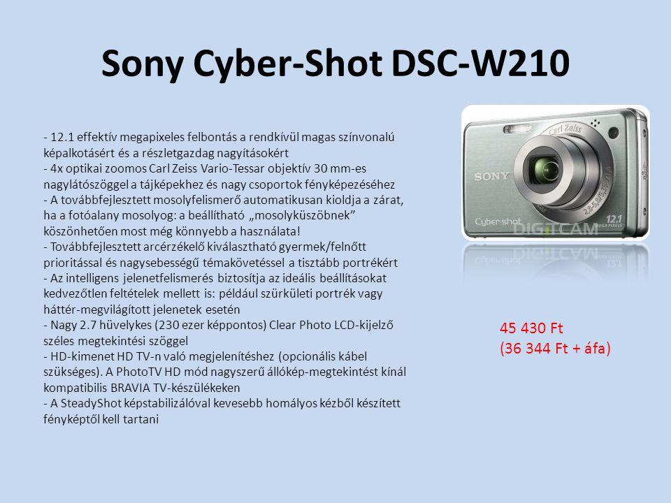 """Sony Cyber-Shot DSC-W210 - 12.1 effektív megapixeles felbontás a rendkívül magas színvonalú képalkotásért és a részletgazdag nagyításokért - 4x optikai zoomos Carl Zeiss Vario-Tessar objektív 30 mm-es nagylátószöggel a tájképekhez és nagy csoportok fényképezéséhez - A továbbfejlesztett mosolyfelismerő automatikusan kioldja a zárat, ha a fotóalany mosolyog: a beállítható """"mosolyküszöbnek köszönhetően most még könnyebb a használata."""