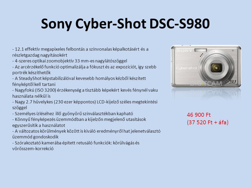 Sony Cyber-Shot DSC-S980 - 12.1 effektív megapixeles felbontás a színvonalas képalkotásért és a részletgazdag nagyításokért - 4-szeres optikai zoomobjektív 33 mm-es nagylátószöggel - Az arcérzékelő funkció optimalizálja a fókuszt és az expozíciót, így szebb portrék készíthetők - A SteadyShot képstabilizálóval kevesebb homályos kézből készített fényképtől kell tartani - Nagyfokú (ISO 3200) érzékenység a tisztább képekért kevés fénynél vaku használata nélkül is - Nagy 2.7 hüvelykes (230 ezer képpontos) LCD-kijelző széles megtekintési szöggel - Személyes ízléséhez illő gyönyörű színválasztékban kapható - Könnyű fényképezés üzemmódban a kijelzőn megjelenő utasítások egyszerűsítik a használatot - A változatos körülmények között is kiváló eredményről hat jelenetválasztó üzemmód gondoskodik - Szórakoztató kamerába épített retusáló funkciók: körülvágás és vörösszem-korrekció 46 900 Ft (37 520 Ft + áfa)