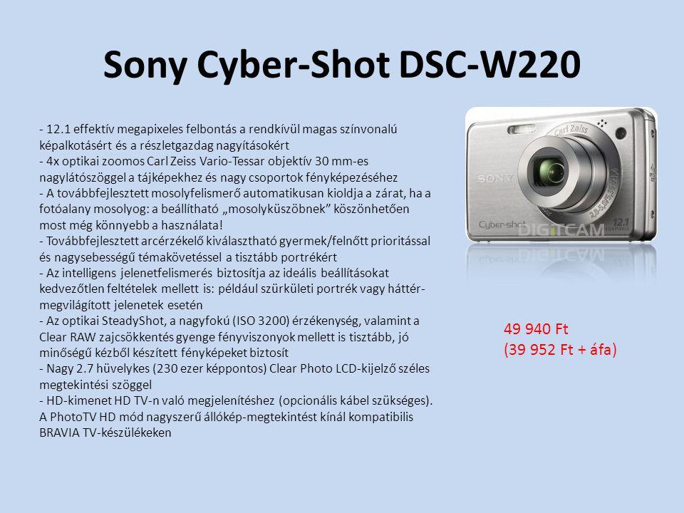 """Sony Cyber-Shot DSC-W220 - 12.1 effektív megapixeles felbontás a rendkívül magas színvonalú képalkotásért és a részletgazdag nagyításokért - 4x optikai zoomos Carl Zeiss Vario-Tessar objektív 30 mm-es nagylátószöggel a tájképekhez és nagy csoportok fényképezéséhez - A továbbfejlesztett mosolyfelismerő automatikusan kioldja a zárat, ha a fotóalany mosolyog: a beállítható """"mosolyküszöbnek köszönhetően most még könnyebb a használata."""