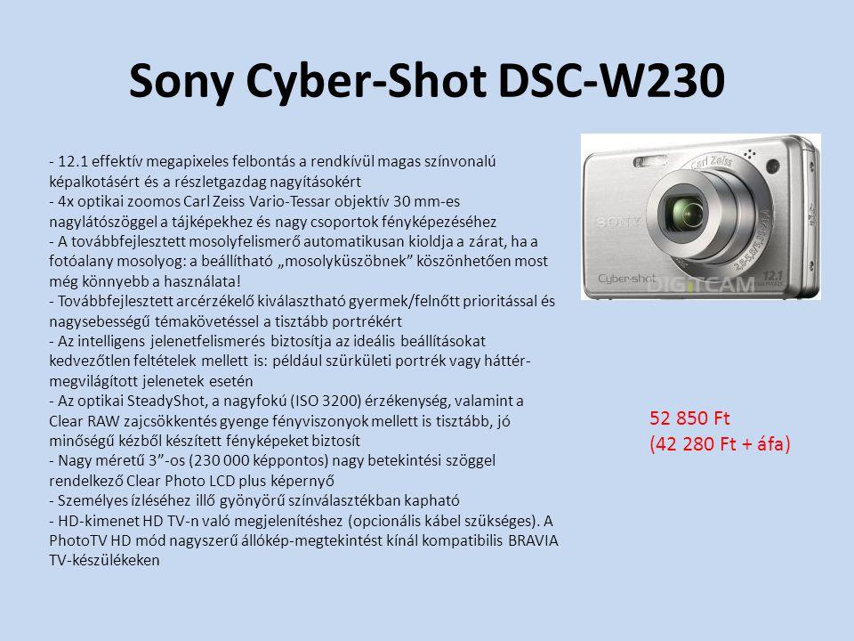 """Sony Cyber-Shot DSC-W230 - 12.1 effektív megapixeles felbontás a rendkívül magas színvonalú képalkotásért és a részletgazdag nagyításokért - 4x optikai zoomos Carl Zeiss Vario-Tessar objektív 30 mm-es nagylátószöggel a tájképekhez és nagy csoportok fényképezéséhez - A továbbfejlesztett mosolyfelismerő automatikusan kioldja a zárat, ha a fotóalany mosolyog: a beállítható """"mosolyküszöbnek köszönhetően most még könnyebb a használata."""