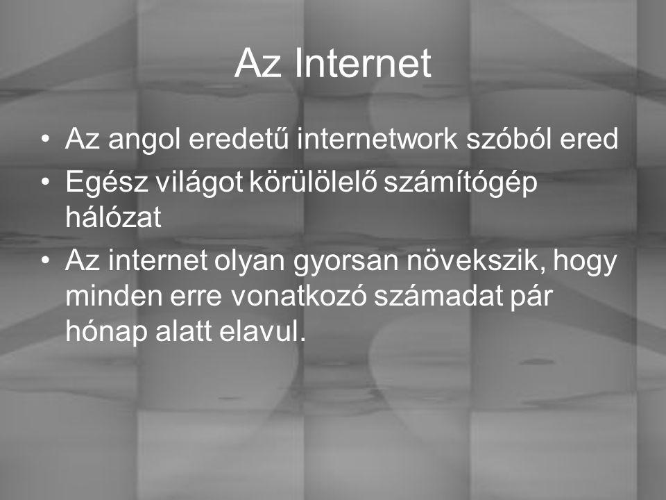 Az Internet Az angol eredetű internetwork szóból ered Egész világot körülölelő számítógép hálózat Az internet olyan gyorsan növekszik, hogy minden erre vonatkozó számadat pár hónap alatt elavul.