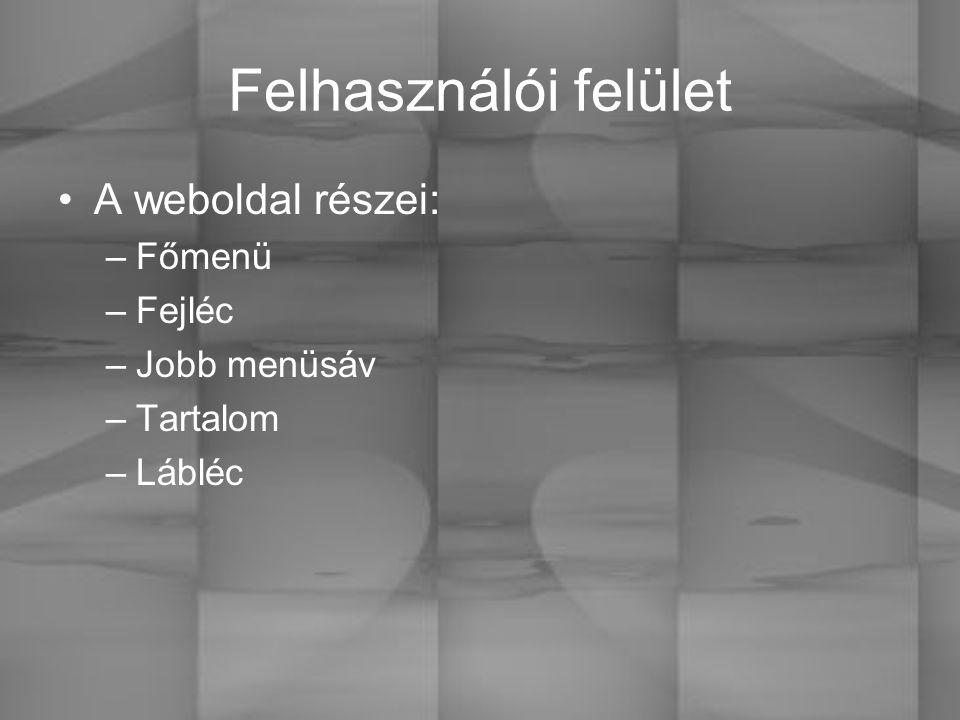 Felhasználói felület A weboldal részei: –Főmenü –Fejléc –Jobb menüsáv –Tartalom –Lábléc