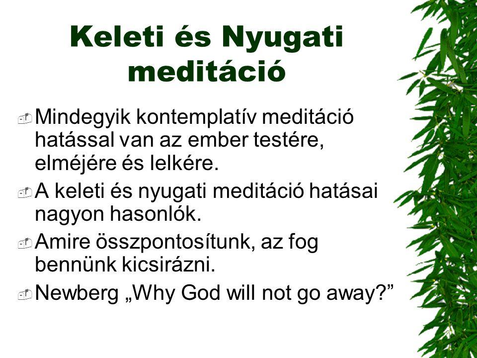 Keleti és Nyugati meditáció  Mindegyik kontemplatív meditáció hatással van az ember testére, elméjére és lelkére.  A keleti és nyugati meditáció hat