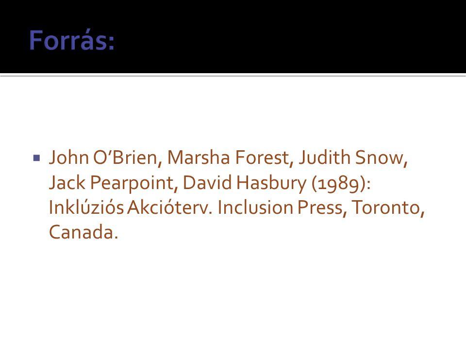  John O'Brien, Marsha Forest, Judith Snow, Jack Pearpoint, David Hasbury (1989): Inklúziós Akcióterv.