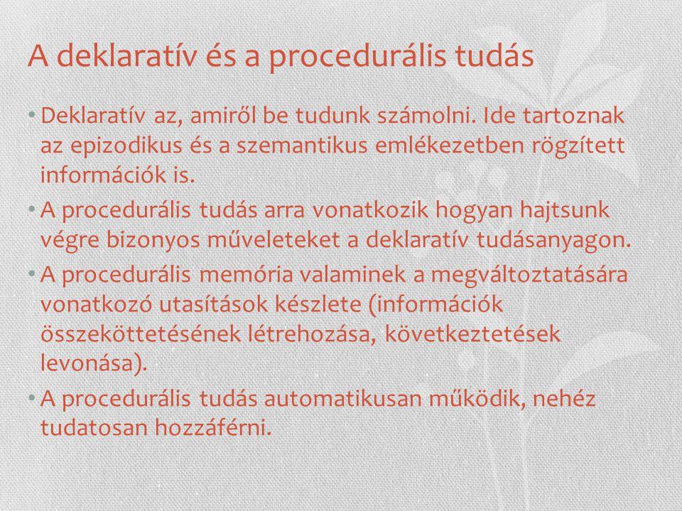 A deklaratív és a procedurális tudás Deklaratív az, amiről be tudunk számolni. Ide tartoznak az epizodikus és a szemantikus emlékezetben rögzített inf