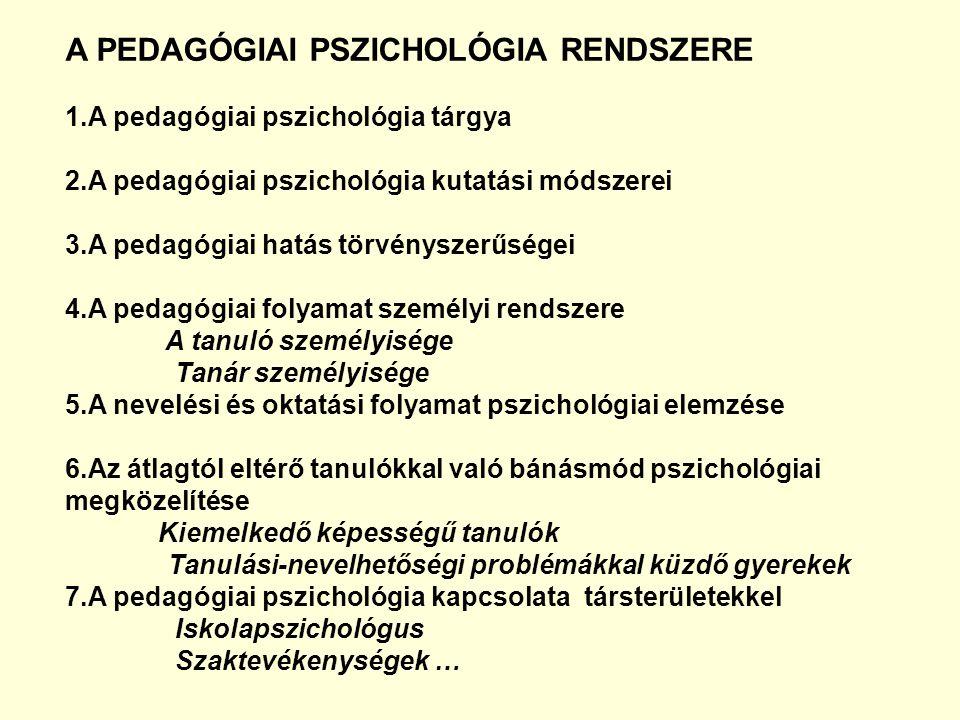 A PEDAGÓGIAI PSZICHOLÓGIA RENDSZERE 1.A pedagógiai pszichológia tárgya 2.A pedagógiai pszichológia kutatási módszerei 3.A pedagógiai hatás törvényszer