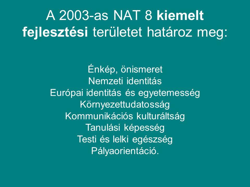 A 2003-as NAT 8 kiemelt fejlesztési területet határoz meg: Énkép, önismeret Nemzeti identitás Európai identitás és egyetemesség Környezettudatosság Ko