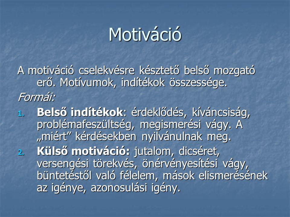 Motiváció A motiváció cselekvésre késztető belső mozgató erő. Motívumok, indítékok összessége. Formái: 1. Belső indítékok: érdeklődés, kíváncsiság, pr