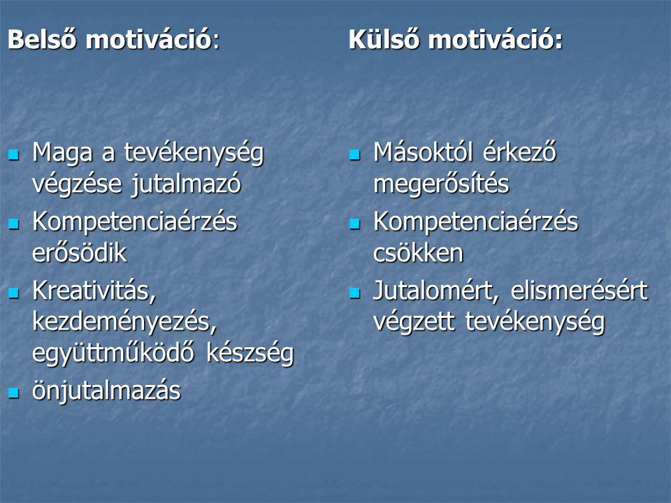 Belső motiváció: Maga a tevékenység végzése jutalmazó Maga a tevékenység végzése jutalmazó Kompetenciaérzés erősödik Kompetenciaérzés erősödik Kreativ