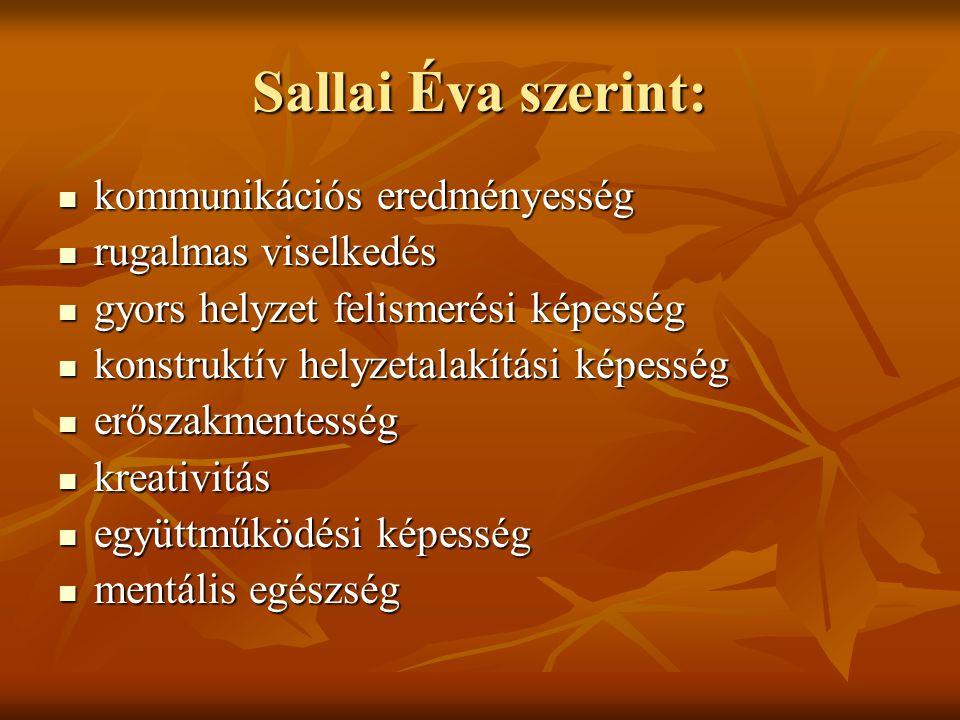 Sallai Éva szerint: kommunikációs eredményesség kommunikációs eredményesség rugalmas viselkedés rugalmas viselkedés gyors helyzet felismerési képesség