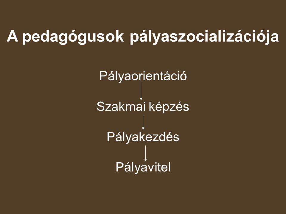 A pedagógusok pályaszocializációja Pályaorientáció Szakmai képzés Pályakezdés Pályavitel