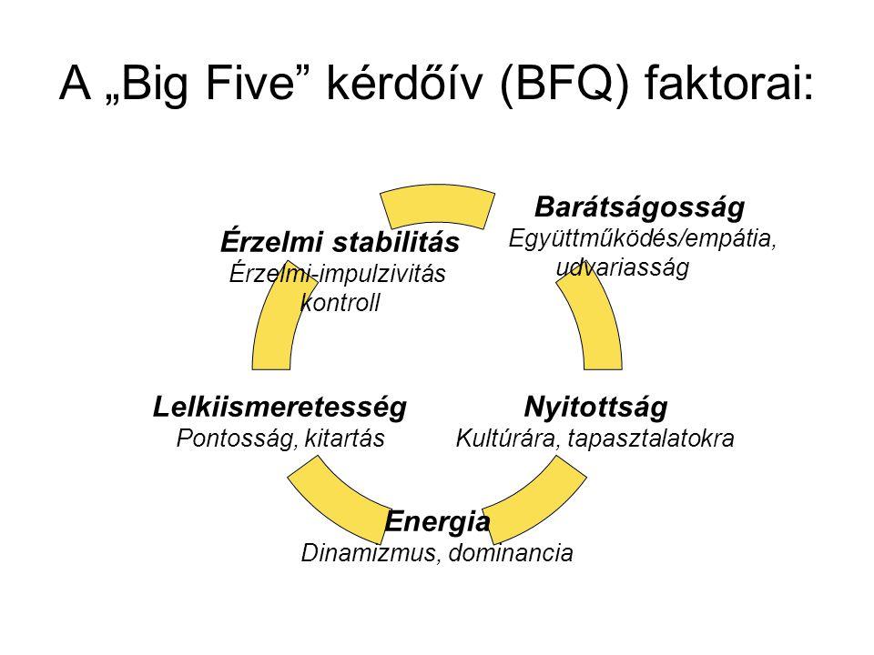 """A """"Big Five"""" kérdőív (BFQ) faktorai: Barátságosság Együttműködés/empátia, udvariasság Nyitottság Kultúrára, tapasztalatokra Energia Dinamizmus, domina"""