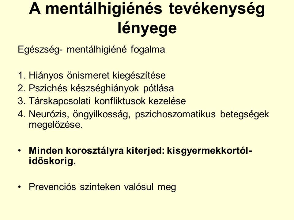 A mentálhigiénés tevékenység lényege Egészség- mentálhigiéné fogalma 1.Hiányos önismeret kiegészítése 2.Pszichés készséghiányok pótlása 3.Társkapcsola