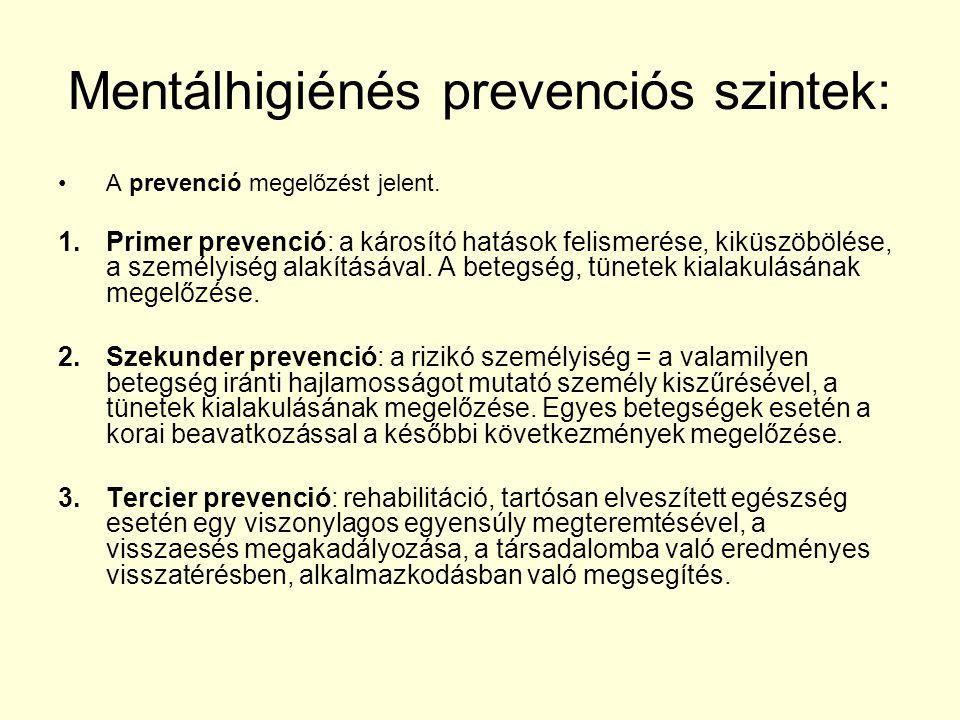 Mentálhigiénés prevenciós szintek: A prevenció megelőzést jelent. 1.Primer prevenció: a károsító hatások felismerése, kiküszöbölése, a személyiség ala