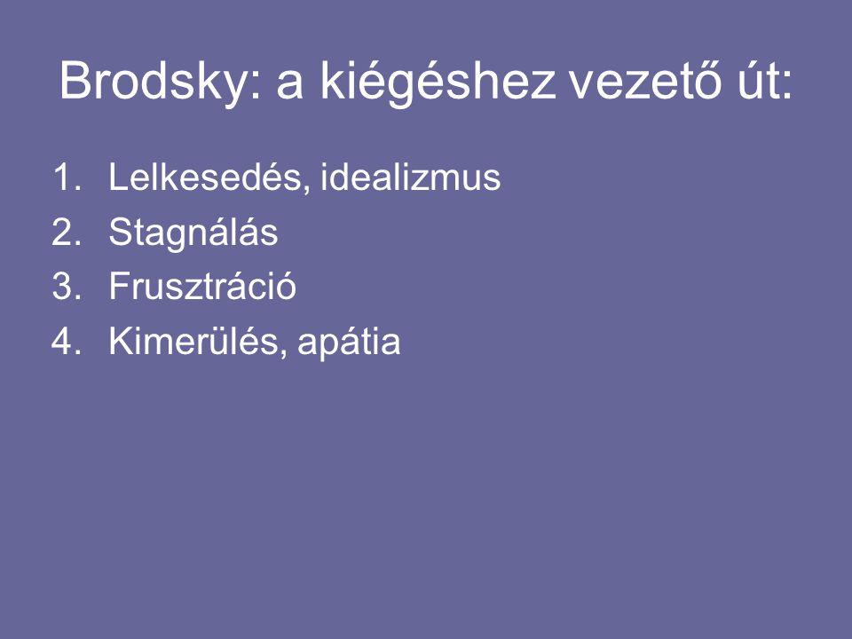 Brodsky: a kiégéshez vezető út: 1.Lelkesedés, idealizmus 2.Stagnálás 3.Frusztráció 4.Kimerülés, apátia