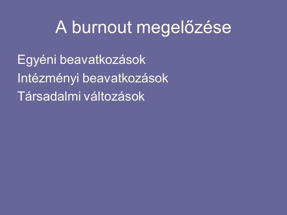 A burnout megelőzése Egyéni beavatkozások Intézményi beavatkozások Társadalmi változások