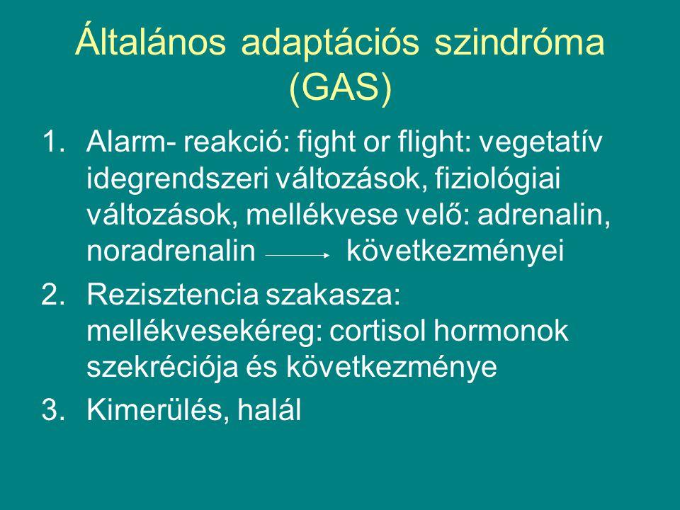 Általános adaptációs szindróma (GAS) 1.Alarm- reakció: fight or flight: vegetatív idegrendszeri változások, fiziológiai változások, mellékvese velő: a