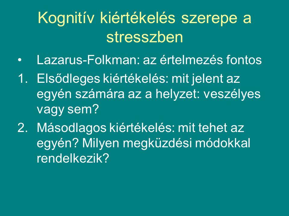 Kognitív kiértékelés szerepe a stresszben Lazarus-Folkman: az értelmezés fontos 1.Elsődleges kiértékelés: mit jelent az egyén számára az a helyzet: ve