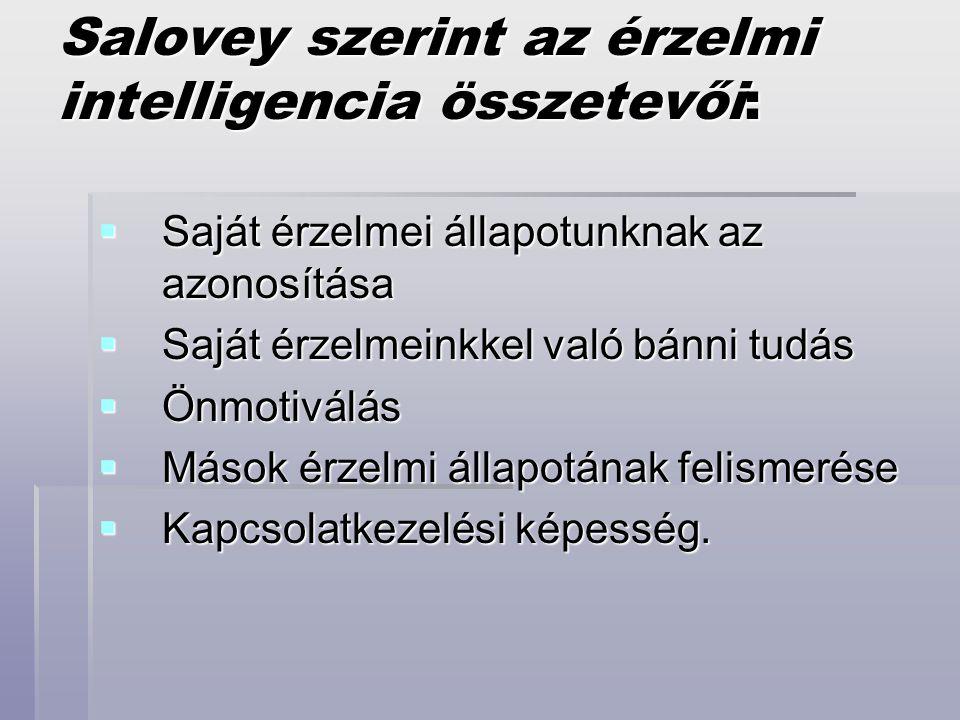 Salovey szerint az érzelmi intelligencia összetevői:  Saját érzelmei állapotunknak az azonosítása  Saját érzelmeinkkel való bánni tudás  Önmotiválá