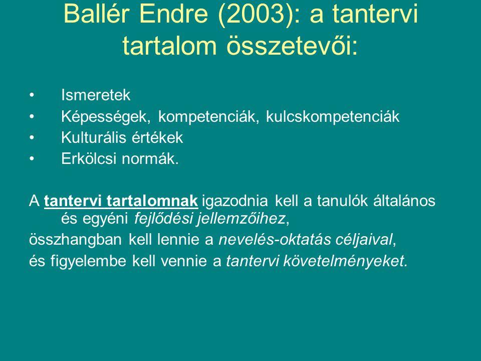 Ballér Endre (2003): a tantervi tartalom összetevői: Ismeretek Képességek, kompetenciák, kulcskompetenciák Kulturális értékek Erkölcsi normák. A tante