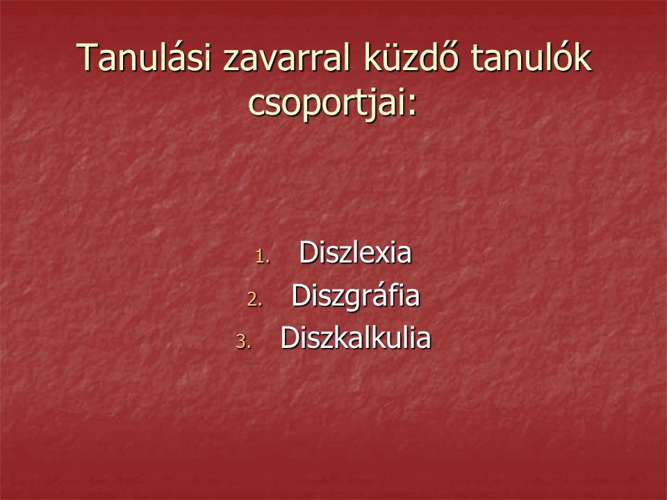 Tanulási zavarral küzdő tanulók csoportjai: 1. Diszlexia 2. Diszgráfia 3. Diszkalkulia