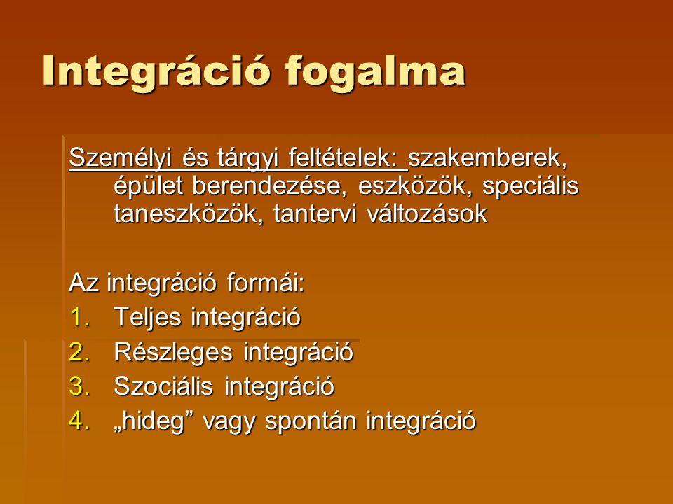 Integráció fogalma Személyi és tárgyi feltételek: szakemberek, épület berendezése, eszközök, speciális taneszközök, tantervi változások Az integráció