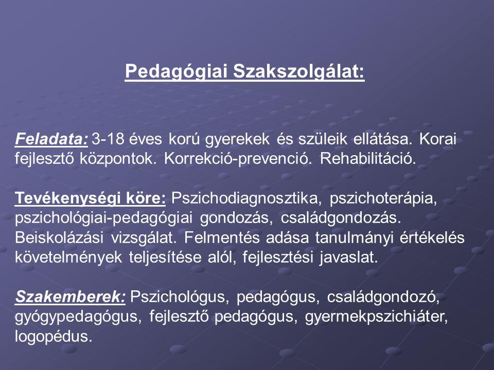 Pedagógiai Szakszolgálat: Feladata: 3-18 éves korú gyerekek és szüleik ellátása. Korai fejlesztő központok. Korrekció-prevenció. Rehabilitáció. Tevéke