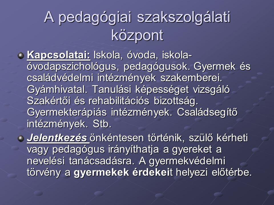A pedagógiai szakszolgálati központ Kapcsolatai: Iskola, óvoda, iskola- óvodapszichológus, pedagógusok. Gyermek és családvédelmi intézmények szakember