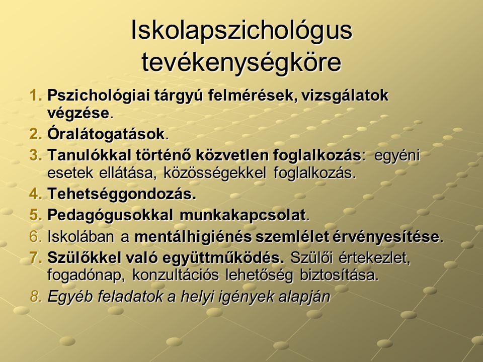 Iskolapszichológus tevékenységköre 1.Pszichológiai tárgyú felmérések, vizsgálatok végzése. 2.Óralátogatások. 3.Tanulókkal történő közvetlen foglalkozá