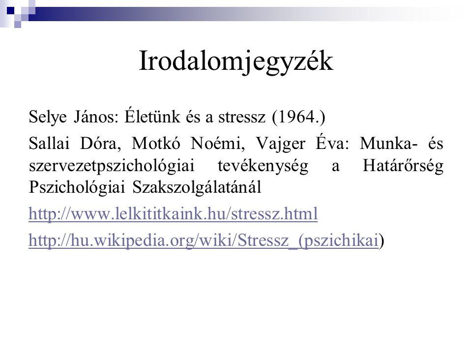 Irodalomjegyzék Selye János: Életünk és a stressz (1964.) Sallai Dóra, Motkó Noémi, Vajger Éva: Munka- és szervezetpszichológiai tevékenység a Határőr